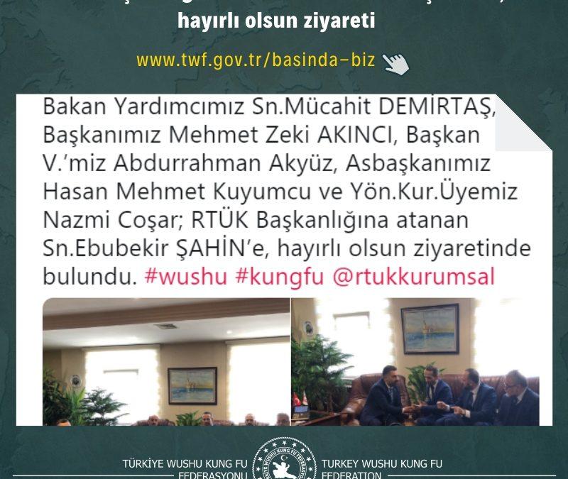 RTÜK Başkanlığına atanan Sn.Ebubekir ŞAHİN'e, hayırlı olsun ziyareti